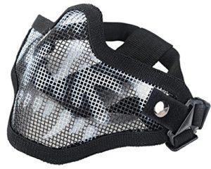 Coxeer Masque blanc Airsoft Paintball Masque protection Casque ski enfant protéger les CS live noir demi masque