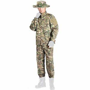 COZYJIA Chemise et Pantalon Tactiques , Ensemble à Manches Longues Multicam BDU Airsoft Vêtements de Chasse Uniforme Militaire