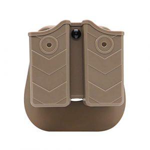 efluky Etui à Pistolet Defense Tactique Porte Chargeur 9mm Double Magazine Pouch pour Walther P99/Sig Sauer p226/Glock 17 19/CZ p-09/Beretta/H&K, Paddle 60° Réglable