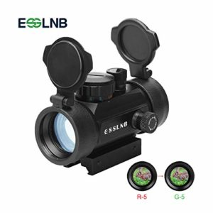 ESSLNB Airsoft Point Rouge Chasse Vert 2 Paramètres de luminosité Portée de la carabine prisme optique de 30 mm avec 5 réglages de luminosité pour la chasse Spotting Positionnement de visée avec rail Weaver / Picatinny de 11 mm / 20 mm