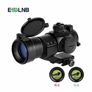ESSLNB Viseur point rouge 5 Paramètres de luminosité Rouge et Vert Reflex Sight Tactique Lunette de tir avec 22mm Tisserand / Picatinny Rail Monter pour la chasse