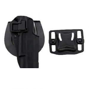 FOJMAI Airsoft Tactique Pistol Draw Hand droitier Paddle Waist Belt Holster Bag for Colt 1911 M1911 (Noir)