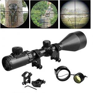 Froadp Lunette de Visée Rouge et Vert Lunette de visée avec 11mm / 20mm / 22mm pour la Chasse et Le Sport Carabine à Air Comprimé(3-9x40EG, Montures de 11mm)