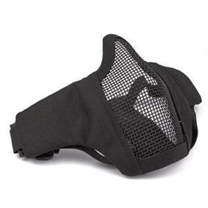 GES masque facial tactile pliable masque extérieur masque protecteur masque respirant pour Airsoft Paintball CS avec sangle réglable (Noir)