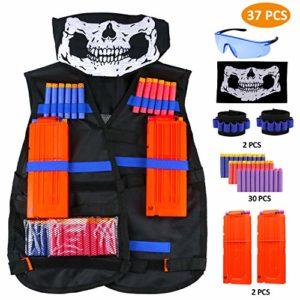 Gilet Tactique Enfants pour Nerf Guns N, CRMICL Kit De Veste Gilet Kids Jungle Camouflage Tactical Vest Jacket Kit pour Nerf Toy Gun N-Strike Elite Series avec 30 Fléchettes, 2Pcs rechargement, 1 Masque, 2 Bracelet & 1 Lunettes de Protection