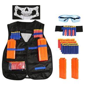 Gilet Tactique pour Enfants, BELLESTYLE Nerf Accessoire Kit Veste Gilet Tactique pour Nerf Gun N-Strike Elite Bataille avec 40 pcs Recharge Balles, 2 pcs Recharger des Clips, Bracelet, Masque Facial et des Lunettes de Protection