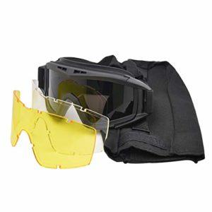 Gracorgzjs 1 paire de lunettes de soleil Airsoft anti-impact Lunettes de soleil Paintball, Noir
