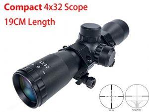 Hauska Tactique 4×32 Compact Lunettes De Visée Fusil Lunette De Chasse Rifle Scope Mil-Dot Télémètre réticule Monture Anneau Picatinny