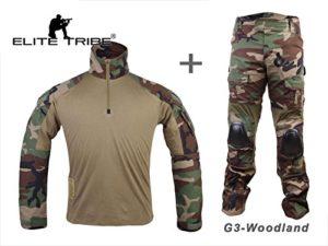 Homme airsoft chasse uniforme tactique Gen3 uniforme de combat woodland (XXL)