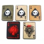 Jiobapiongxin Carte de la Mort Patch de Broderie rectangulaire Spade Un Badge de Patch Tactique Poker