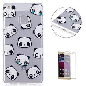 KaseHom Coque Huawei P9 Lite TPU Housse Cas [Gratuit Protecteur d'écran] Dessin animé Désign Cristal Clair Anti-rayures Couverture Silicone Durable Protecteur Coquille-Panda EmojiPanda Emoji
