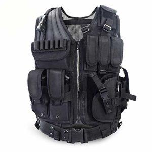 LEICH Gilet Outdoor for Hommes Déchargement de ACU/Camouflage Hommes Gilets Multi-Poches Body CS Jungle Equipment (Color : Black, Size : One Size)