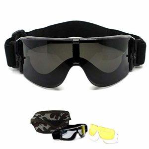 Lunettes de Airsoft Paintball CS – Goggles de X800 Militaire Tactique Armée Ballistic Goggles Lunettes de Cyclisme Moto Ski Sécurité Sports Protection + 3 lentilles + Étui de transport camo