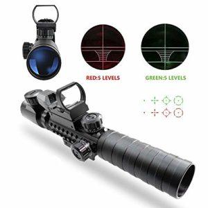 Lunettes de visée, Tactical Airsoft Rifle Scope UMsky fusil à air scopes Illuminé 3-9x32EG 3 en 1 Chasse 4 réticule holographique Rouge et vert Point de vue pour 22mm (Scope A)