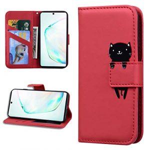Miagon Animal Flip Coque pour Samsung Galaxy S7 Edge,Portefeuille PU Cuir TPU Cover Désign Étui Folio à Rabat Magnétique Stand Wallet Case,Rouge