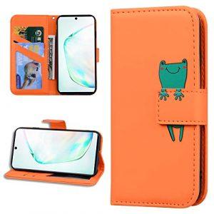 Miagon Animal Flip Coque pour Samsung Galaxy S8,Portefeuille PU Cuir TPU Cover Désign Étui Folio à Rabat Magnétique Stand Wallet Case,Orange