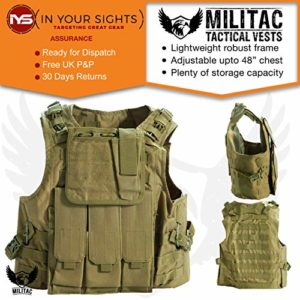 Militac–Delta Veste tactique–Idéal pour airsoft/paintball–Penderies en noir, vert, brun clair, MTP, ACU, peau