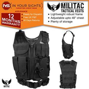 Militac–Filet en nylon Veste tactique avec étui à pistolet, noir