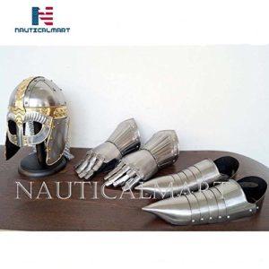 NauticalMart Médiéval Gjermundbu Chaîne Mail Casque W/Support Armour Gauntlet Gants/Chaussures de