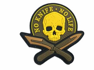 No Knife No Life Skull Airsoft Paintball PVC Morale Team Patch, Marron, 75mm x 80mm