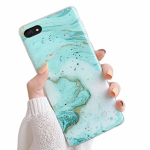 Oihxse Compatible pour iPhone 7/iPhone 8 Coque Marbre Motif Stitching Crystal Ultra-Mince Protection Housse en Silicone TPU Souple Flexible Bumper Anti Choc Etui Case (Cyan)
