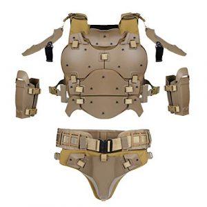 PARIO WST Gilet Tactique Tactical Armor Set Molle Tactique pour Airsoft Paintball Nerf, Coudière Sceau de Taille Ajustable