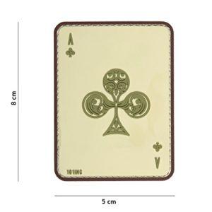 Patch 3D PVC Carte à jouer Ace Of Clubs «As de Trèfle» Sable / Cosplay / Airsoft / Camouflage