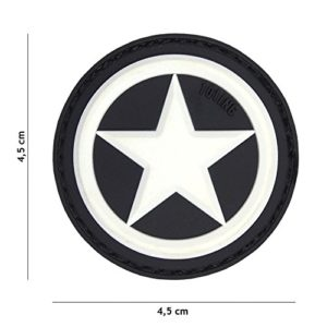 Patch 3D PVC USA Etoile Blanc & Noir / Cosplay / Type Bouclier Captain America / Airsoft / Camouflage