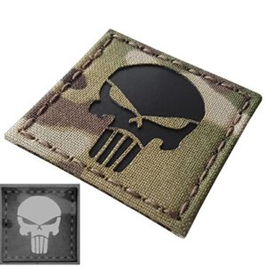Punisher Crâne 2×2 Multicam Infrared IR Laser Cut Reflective Tactical Morale Fastener Écusson Patch