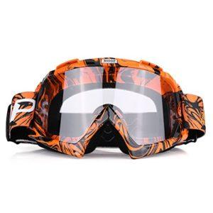 Qiilu Lunettes de Protection de Yeux Visage Anti-UV Anti-Brouillard Anti-Sable Anti-poussière Lunette pour Activité Moto Cross Google VTT Vélo Snowboard Ski Snowboard Cyclismes (Film Blanc Orange)