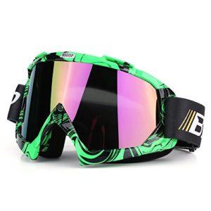 Qiilu Lunettes de Protection de Yeux Visage Anti-UV Anti-brouillard Anti-sable Anti-poussière lunette pour Activité Moto Cross Google VTT Vélo Snowboard Ski Snowboard Cyclismes (Film de couleur verte)