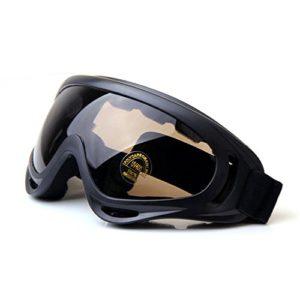 QMFIVE Tactique UV400, Airsoft Protection Anti-poussière Contre Le Vent Lunettes Tactiques Lunettes de Moto Lentille Transparente pour la Chasse Cyclisme Ski Tennis Tactique en Plein air (Marron)