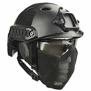 QZY Casque de Protection Airsoft Paintball ETS Casques Tactiques avec Masque de Maille en Acier Set de Jeux CS 8 Couleurs,BK