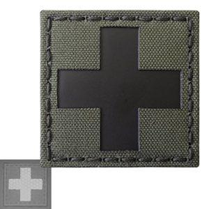 Red Cross Ranger Green Infrared IR Med Medical EMS EMT 2×2 Tactical Morale Fastener Patch