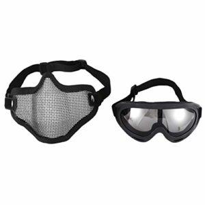 SODIAL(R) Masque facial en acier de protection 2-en-1 avec lunettes de securite UV X400 Airsoft Paintball, noir