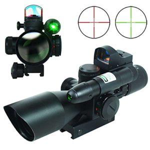 Spike Lunettes de visée Fusil tactique 2.5-10X40 Chasse Portée w / Laser Vert & Mini Reflex 3 MOA Red Dot Sight Airsoft
