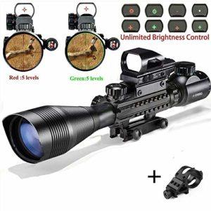 StyleA Lunette De Visée 4-12x50EG Sniper Airsoft Optique avec Réticule Rétroéclairable (Rouge/Vert) et Viseur Carabine Reflex Holographique Red Dot & Lampe de Poche Tactique de Chasse pour Montage sur Rail Weaver / Picatinny de 22 mm (Garantie 12 mois)