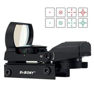 Svbony Vert et Rouge Dot Sight Full Métal Construction avec 4 Réticules et 5 Niveaux de Luminosité (Noir)