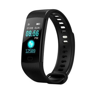 TechCode Fitness Trackers, Bracelet Smart Watch écran Couleur avec Tension artérielle Moniteur de fréquence Cardiaque Bracelet IP67 activité imperméable Fitness Tracker podomètre Smart Band (Noir)