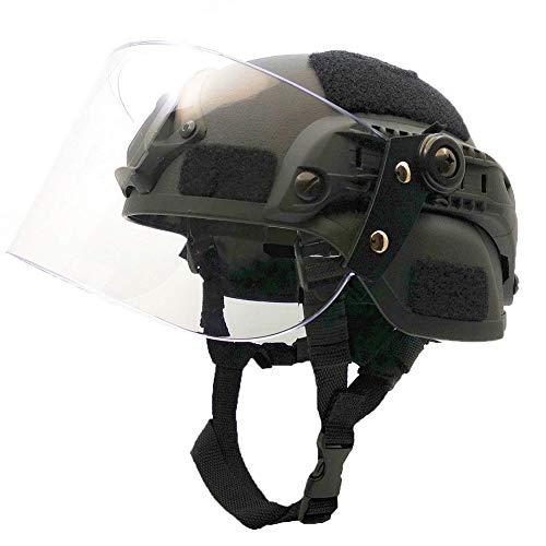 WLXW Casque Tactique de Paintball Airsoft, Casque de Combat Rapide de L'Armée MICH2000, avec Lunettes de Protection Solaire pour la Chasse Au Jeu De Guerre CS, Équipement de Protection,Black