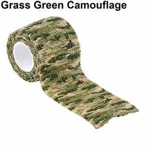 xMxDESiZ Ruban De Camouflage Extérieur,4.5m x 5cm Militaire Randonnée en Plein air Camping Chasse Camouflage Furtif Camo Tape Camouflage Vert d'herbe