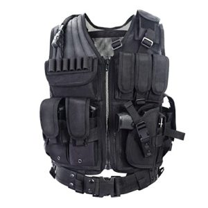 YAKEDA Army fans Tactical Vest CS Field Outdoor Equipment Supplies Breathable lightweight tactical vest SWAT Tactical Vest Special Forces combat training vest–VT-1063(black)