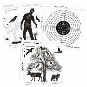 150 x Anglo Arms 50 de Chaque 140 x 140mm Papier Chasse Cibles Ensemble en Zombies Animaux et Anneaux
