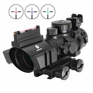 Beileshi Optics 4×32 Red / Green / Blue Triple Rapid Range Reticle Rifle Scope with Illuminated Fiber Optic Sight and That Top Slots