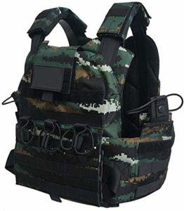 Mnjin Gilet d'autoprotection Gilet de sécurité Camouflage tigré Niveau 3 Armure corporelle Contre Le terrorisme Gilet Tactique (Gilet Tactique (C))