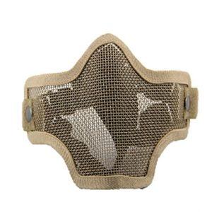 QMFIVE Airsoft Demi Visage Masque, Masque Tactique en Acier de Masque Demi-Masque de Protection pour Airsoft Paintball Cosplay(désert)