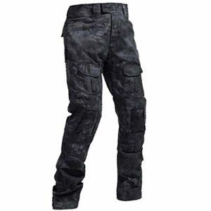 QMFIVE Pantalon Tactique, Hommes Camo Tir Combat BDU Combat Pantalon Pantalon pour Armée Militaire Tactique Airsoft Paintball