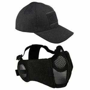Airsoft Masque en maille avec protection auditive et casquette de baseball réglable pour CS/Chasse/Paintball/Shooting, Noir