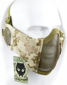 Demi-masque pour visage de WorldShopping4U – Protection inférieure avec filet en nylon – Protection des oreilles – Équipement Tactical Airsoft CS, AOR1