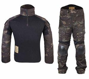 Homme Tenues de Combat Chasse Unifome Militaire Gen2 Tactique Uniforme Multicam Black (XL)